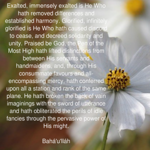 Exalted immensely exalted is He Who hath removed differences